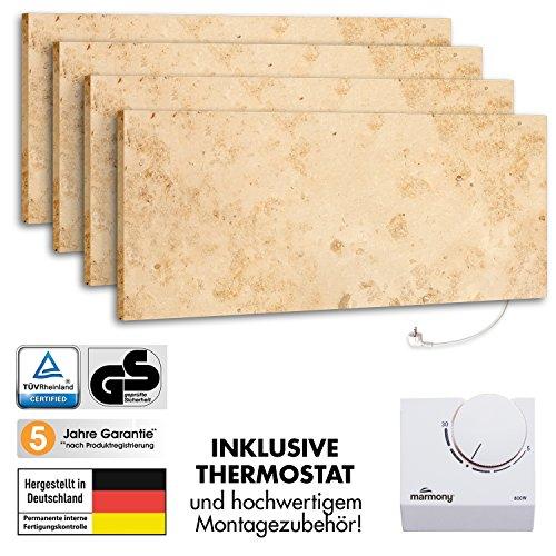 4er-Pack Marmony M800-0066 Jura mit Thermostat Marmor Naturstein Infrarot-Heizung inkl. Montagematerial, steckerfertige Wandheizung zum Aufhängen