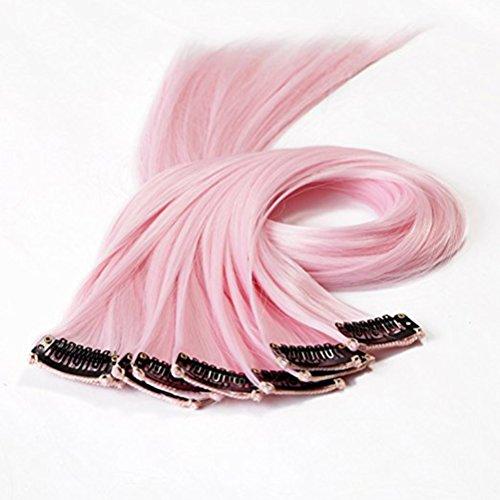 10pcs destacan el clip sintético encendido en extensiones del pelo (color de rosa claro)