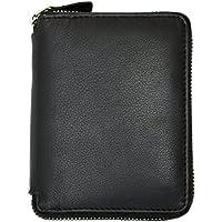 Portafoglio nero in vera pelle di qualità con la cerniera