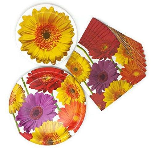 Sommer Pappteller und Servietten Floral Gerbera Daisy Thema Bundle Of 3, Service für 8 Floral 2 Teller
