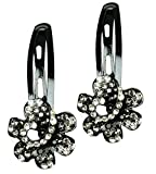 #10: Glitters Blackish Silver Colour American Diamond Hair Clip - 2 Pcs.