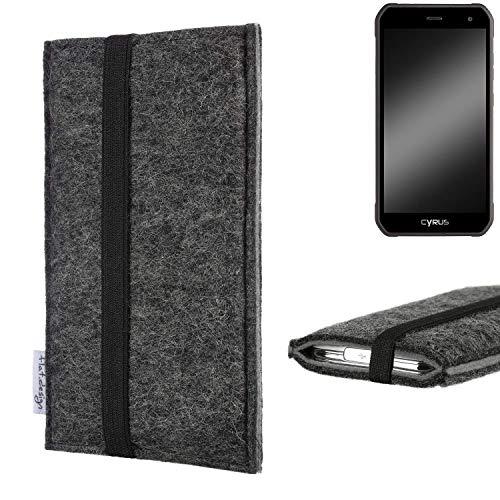 flat.design Handyhülle Lagoa für Cyrus CS 40 | Farbe: anthrazit/grau | Smartphone-Tasche aus Filz | Handy Schutzhülle| Handytasche Made in Germany