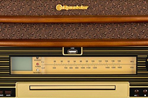 Roadstar HIF-1990 Retro Stereo-Anlage mit Plattenspieler, Kassette, CD-Player und Radio (UKW / MW, CD / MP3, USB, beleuchtetes LCD-Display, Fernbedienung, 40 Watt Musikleistung), braun - 4