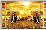 ADLFJGL 3D Mundo Animal Elefantes Pintar El Salón Sofá
