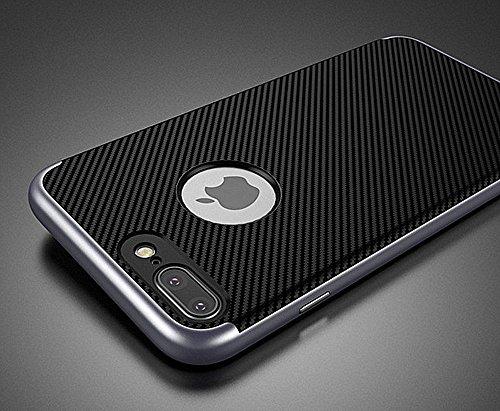iPhone 7 Coque Vanki® 2 en 1 Dual Layer Hybride PC Cadre + Silicone Back Housse Étui Cover pour Apple iPhone 7 Plus Case Gris