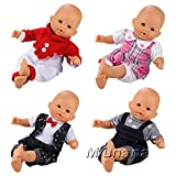 Miunana 4 PCS Fashion Clothes And Pants For 14-16 Inch New Born Baby Dolls Newborn Dolls