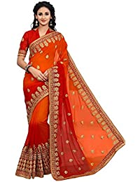 [Sponsored Products]Onlinefayda Designer Multicoloured Georgette Saree