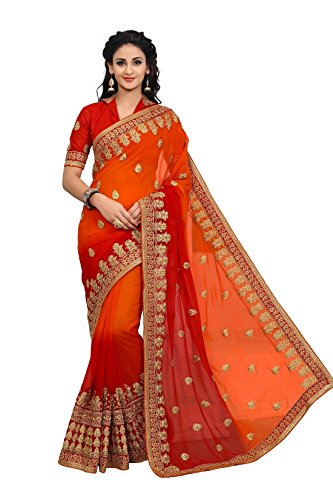 Onlinefayda Designer Multicoloured Georgette Saree