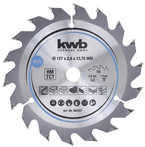 kwb 581557 Span-Platten Kreissäge-Blatt, Holz-/Hartholz-Sägeblatt, 127 x 12,7 mm, saubere Schnitte, mittlere Zahl, 18 Zähne Z-18