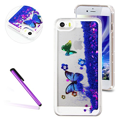 iPhone SE Hülle Transparent,iPhone SE Hülle Glitzer,iPhone 5S Schutzhülle Hülle Hard Case Liquid Cover für iPhone SE,EMAXELERS iPhone 5 Hülle Clear Bling Luxus Shiny Glanz Glitter Glitzer Sparkle Hart Butterfly 5