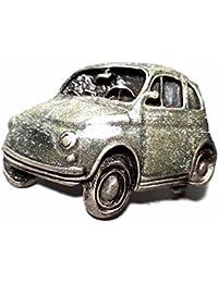Artesanal Hebilla para cinturón 4 cm, Fiat 500 Esmalte Gris, Color Plateado Envejecido,