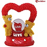 Archies Cute Teddy Bear Polyresin Love Showpiece Figurine With Lighting Water Ball | Gift (Red, H - 14 Cm)