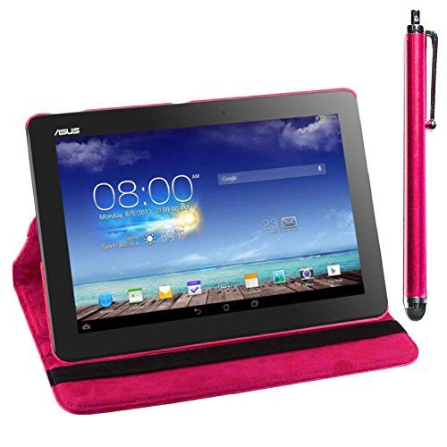 ebestStar - Asus Memo Pad 10 ME103K ME102A Hülle Memo Pad 10 ME103K ME102A Rotierend Schutzhülle Etui, Schutz Hülle Ständer, Rotating Case Cover Stand + Stift, Pink [Tab: 256 x 174 x 9.9mm, 10.0'']
