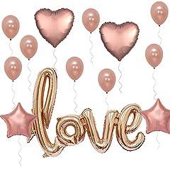 Idea Regalo - Okaytec set 15 pz Palloncini Colore Rosa Oro - Palloncini Rose Gold - Palloncini Lettere ad Elio Palloncini Love Giganti - Palloncini Amore per Matrimonio Cerimonia Eventi Anniversario