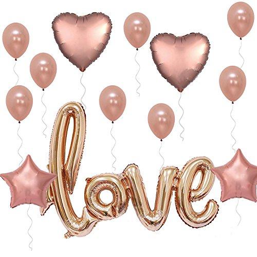 Okaytec-set-15-pz-Palloncini-Colore-Rosa-Oro-Palloncini-Rose-Gold-Palloncini-Lettere-ad-Elio-Palloncini-Love-Giganti-Palloncini-Amore-per-Matrimonio-Cerimonia-Eventi-Anniversario