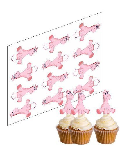 Simply Topps - 12 x Cup Cake Dekoration Aufsatz Rosa Giraffe Ungeschnitten