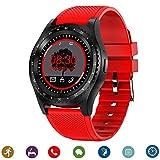 CanMixs Relojes inteligentes Smart Watch Bluetooth CM08 Tarjeta SIM TF con notificación de cámara Sincronización Reloj deportivo Compatible con iPhone Android IOS Teléfonos Samsung LG(Rojo)