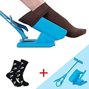 Morwind Sock Slider, Sock Aid - The Easy on, Easy off Sock Aid Kit & Shoe Horn , Pain Free No Bending, Stretching or Straining System that Packs up for Convenient Travel - Sock Helper
