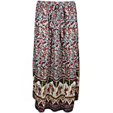 Mogul Interior Womans Bohemian Skirt Stunner Elephant Print Flirty Flare Long Skirts S
