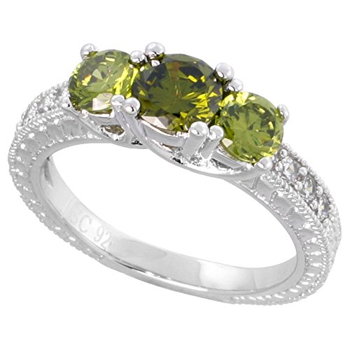 Revoni Sterling Silber Vintage Style Engagement Ring, W/Zwei 4 mm (0,6 CT) & One 5 mm (, 5 ct) rund peridot-colored CZ Steine, 3/40,6 cm (5) breit 5 Carat Cz Engagement Ring