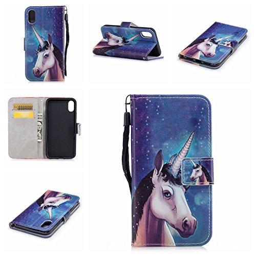 Cover Per iPhone X, Sunrive Custodia con supporto di stand e in Pelle artificiale per carte di credito Portafoglio Flip Chiusura Magnetica Protettiva(sabbia Blu) Arcobaleno unicorno