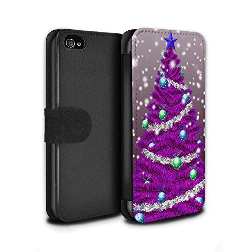 Stuff4 Coque/Etui/Housse Cuir PU Case/Cover pour Apple iPhone 4/4S / Pack 5pcs Design / Sapin/Arbre de Noël Collection Violet