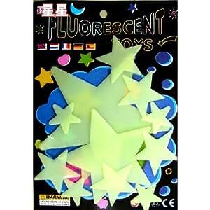 Stickers Muraux en PVC Lumineux Fluorescents Etoiles Brillant Dans Le Noir