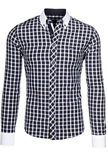 BOLF - Chemise casual - à manches longues – à carreaux – BOLF 5737 - Homme Noir