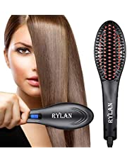 RYLAN Hair Electric Comb Brush 3 in 1 Ceramic Fast Hair Straightener For Women's Hair Straightening Brush with LCD Screen, Temperature Control Display,Hair Straightener For Women