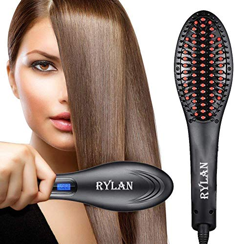 Rylan 3 in 1 Electric Ceramic Fast Hair Straightener Brush with LCD Screen, Temperature Control Display for Women (Black)