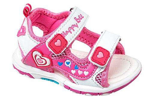 GIBRA® Sandales pour enfants, avec fermeture velcro, blanc/rose, Taille 25–30 Blanc - Weiß/Pink