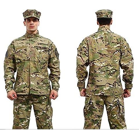Camuflaje militar batalla vestido Conjunto uniforme, Coat + Pantalones Camuflaje Paintball caza ropa, ACU tipo táctico militar combate Cargo BDU Suit, color CP, tamaño mediano
