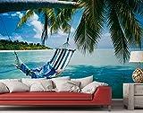 Fototapete Beach - Hängematte am Strand Paradies Insel Urlaub Meer Reise Palmen - Größe 368 x 254 cm, 8-teilig