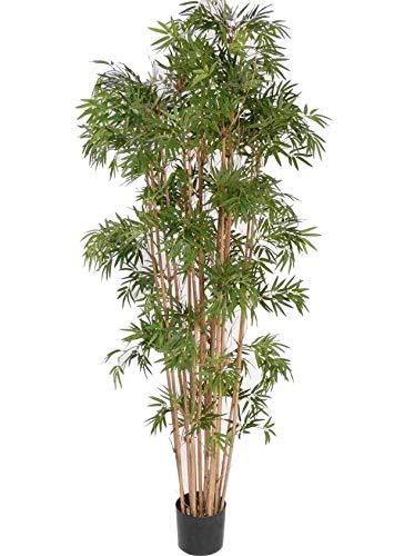 artplants.de Deko Bambus, 1450 Blätter, schwer entflammbar, 150cm, wetterfest - Künstlicher Bambus - Kunstbaum