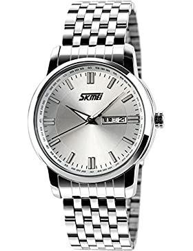 Skmei Herrenuhr Klassische Business Design Armbanduhr elegant Quarzuhr Edelstahl Datum Kalender Silber Blau Schwarz