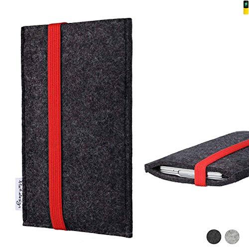 flat.design Handy Tasche Coimbra für Nokia 8110 4G passgenau Filz Schutz Hülle Case anthrazit rot fair
