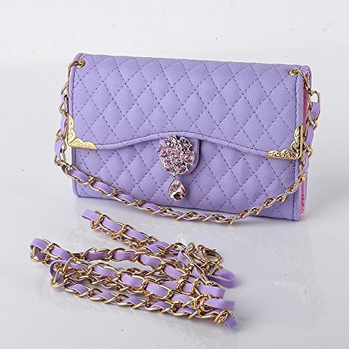 Für Samsung Galaxy Note 5 Fall Luxus Strass Diamant Bling 3D Blume Flip Leder Frauen Handtasche Stil Gesteppt PU-Leder Karte Halter kurz + lang Gurt Chain Wallet Fall, Handbag Purple (Strass Nexus 6 Phone Cases)