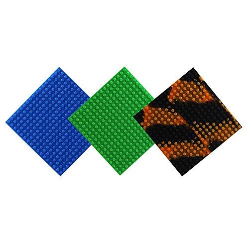 Wiederverwendbar Silikon Selbstklebend Baustein Klebeband, Kompatibel mit Lego Bausets, Pädagogisches Spielzeug zum Anregen der Vorstellungskraft, 17 Bolzen (Quadrat-Grün + Blau + Schwarz-Orange)