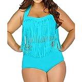 Sasairy Damen Sexy Bikini Set mit Fransen Plus Size Neckholder Badeanzug Hohe Taille Badebekleidung