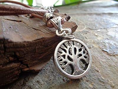 ? COLLIER D'ARBRES DE VIE ? Chaîne de déclaration en cuir avec pendentif d'arbre épais, pierre de jaspe du paysage et feuille entretoise