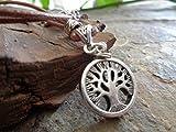 ★ COLLIER D'ARBRES DE VIE ★ Chaîne de déclaration en cuir avec pendentif d'arbre épais, pierre de jaspe du paysage et feuille entretoise