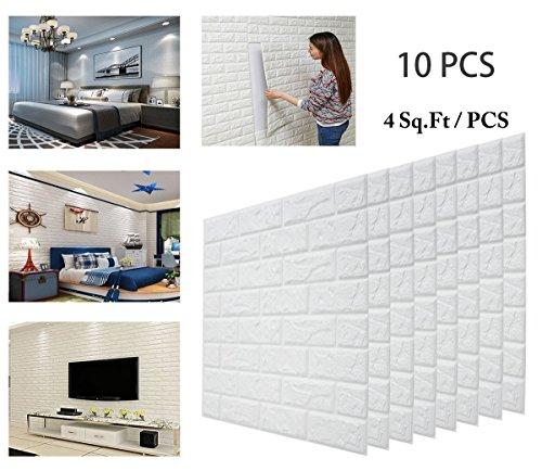3D Wandpaneele für Schlafzimmer Wohnzimmer Moderne Hintergrund TV-Decor, weiß