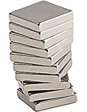 Vridhi Enterprises RECTANGLE Shape 10 Pcs Nickel/NEODYUIM Coated Premium Brushed Refrigerator Magnet for Science and School Projects