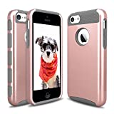 iPhone 5C Case, Hinpia [Seaplays] Hybrid 2 in 1 Dual Layer Shockproof Hard PC + Soft TPU Protective Cover Case for iPhone 5C (Rose Gold/Gray)