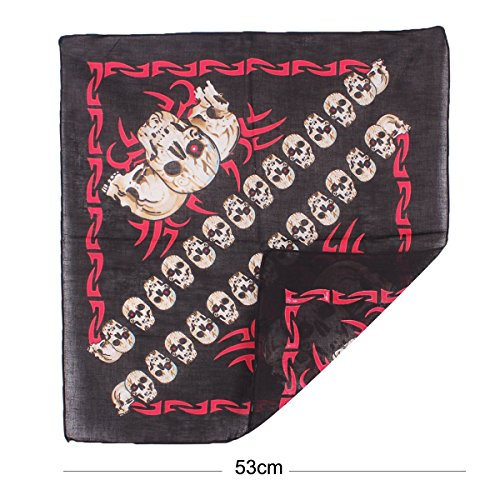UQ Bandana/Foulard en coton Femme/Homme Cowboy 53x53cm Squelette #21