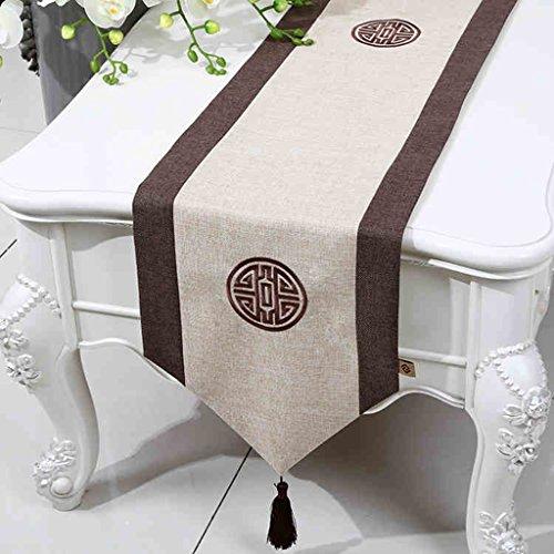 QiangZi Chemin De Table Chinois Simple Nuptiale De Douche Traiteur Gland Nappe Napperon, 33 * 180CM ( Couleur : Beige , taille : 33*230CM )
