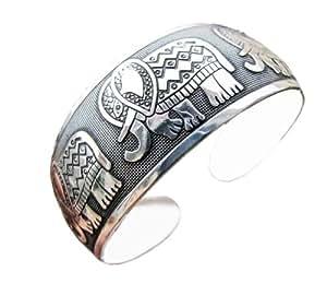 Bracelet tibétain aux éléphants (bijoux ethniques) - Bijoux ethniques artisanaux, tibet, tibétain, népal, artisanal, porte bonheur