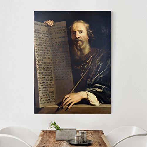 Bilderwelten Leinwandbild - Philippe de Champaigne - Mose hält die Tafel mit den Zehn Geboten - Hoch 4:3 Leinwand Leinwandbild XXL Leinwanddruck Wandbild, Größe HxB: 120cm x 90cm