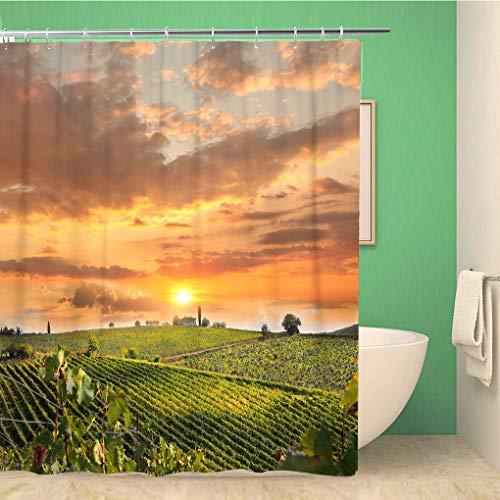 Awowee - Tenda da Doccia Decorativa, con Paesaggio in Toscana, Italia, Farm Firenze, 180 x 180 cm, Tessuto in Poliestere Impermeabile, Set di Tende da Bagno con Ganci per Il Bagno