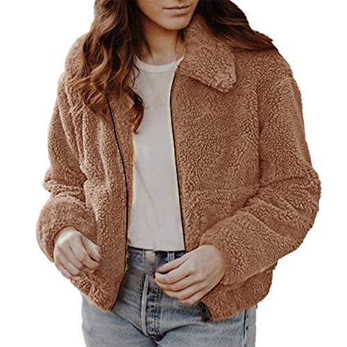 Staresen wintermantel Damen flauschig Kunstpelzmantel Faux Wolle einfarbig Revers Tasche Reißverschlussjacke Damen Winter beiläufige warme Jacke Fester Reißverschluss Mantel Oberbekleidung